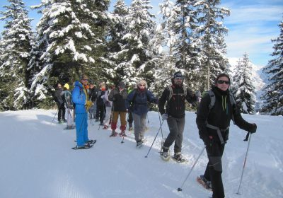 Snowshoe hiking with guide Marc Liotard