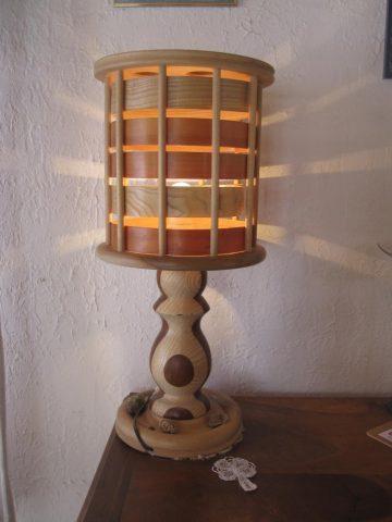 Wooden lamp by Jean Berthet