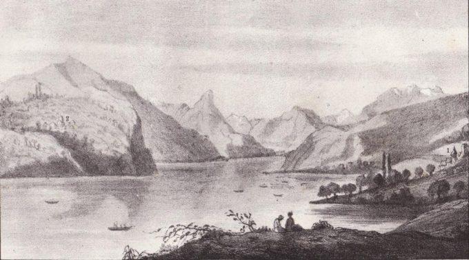 Lithographie : vue sur le lac St-Laurent
