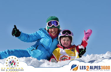 European ski and snowboard school For children