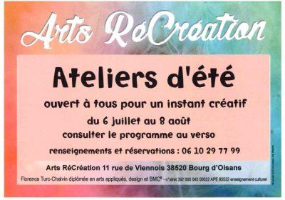 Arts RéCréation – Summer workshops