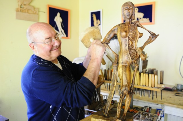 Pierre Gioria, sculptor, in his workshop