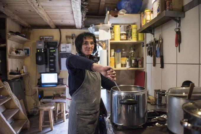 Meal preparation at Refuge de la Chamoissière – Villar d'Arène- La Grave